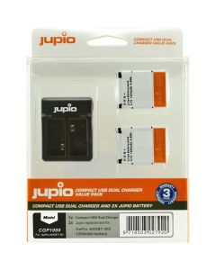 Jupio Kit: 2x Batt. AHDBT-302 HERO3+ 1200mAh + USB Dual Ch.